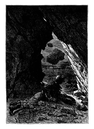 A man hiding in cave, vintage line drawing or engraving illustration