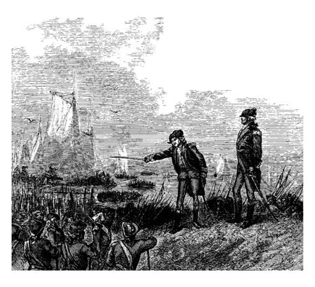John Glover an American fisherman, merchant, and military leader,Superintending the Embarkation ,vintage line drawing or engraving illustration.