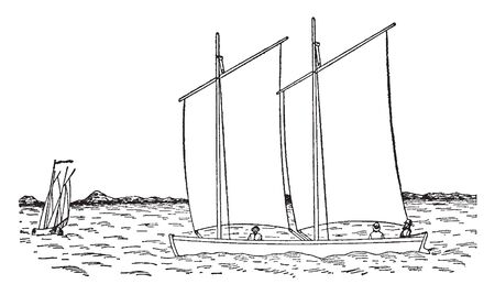 Wind Powered Sailboat with square rigged masts known as a brig, vintage line drawing or engraving illustration.