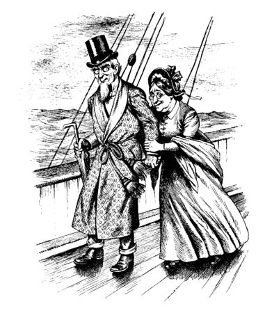 A man and woman walking on deck of ship, vintage line drawing or engraving illustration  イラスト・ベクター素材