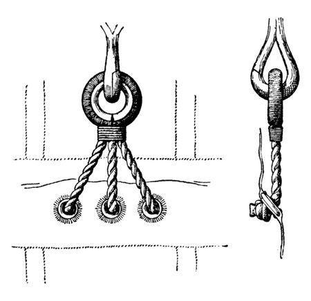Glut is a becket or thimble fixed on the after side of a topsail or course near the head, vintage line drawing or engraving illustration.