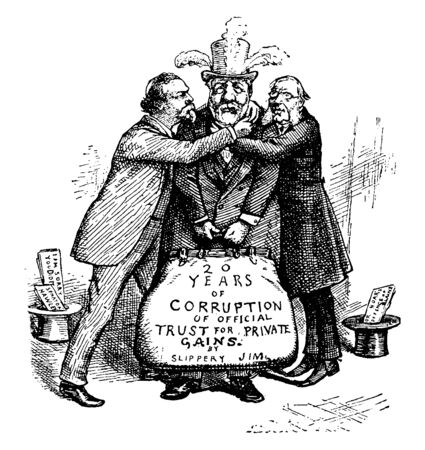Two men hugging a man standing in between them, vintage line drawing or engraving illustration