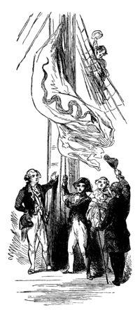 John Paul Jones Raising the First Flag on a U.S Ship,vintage line drawing or engraving illustration.