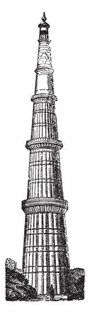 Kutab Minar is a minaret that forms part of the Qutab complex which is a UNESCO World Heritage Site in the Mehrauli area of Delhi in India, vintage line drawing or engraving illustration. 일러스트