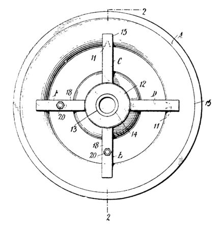Trolley Wheel is often refereed to as a bogie or the framework for a carrying case in this scenario a trolley, vintage line drawing or engraving illustration. Illustration