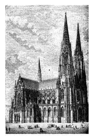 Memorial Church in Vienna in this city many individual tendencies are perceptible but the predominant inclination is toward the Italian Renaissance, vintage line drawing or engraving illustration. Ilustrace