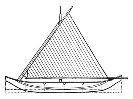 Plan View of Proa is a type of sailing vessel with multi hulls, vintage line drawing or engraving illustration.