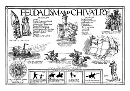 Feudalism and Chivalry is in fact considered as a privileged body into which men were received based on certain conditions, vintage line drawing or engraving illustration.