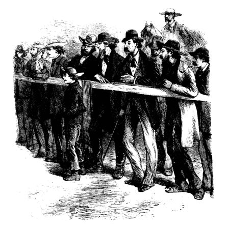 Group of men standing near fence and watching horse races, vintage line drawing or engraving illustration Иллюстрация