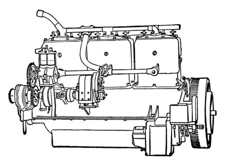 Building an Automobile Step 11 is Motor starts the engine by turning the fly wheel, vintage line drawing or engraving illustration. Çizim