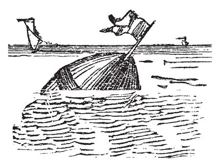 Buoy especially a floating mark to point out the position of objects beneath the water, vintage line drawing or engraving illustration.