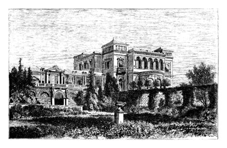 Villa of the Prince Royal of the kingdom of Wrtemberg in Germany, vintage line drawing or engraving illustration.