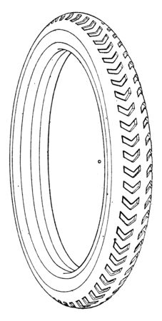Small Vehicle Tire is A ring shaped covering that fits around a wheel to protect it and enable better vehicle performance by providing a flexible cushion, vintage line drawing or engraving illustration. Illustration