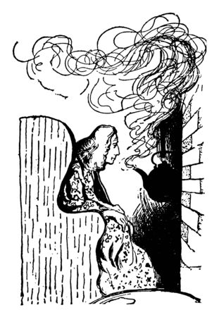 A man sitting in chair and watching tea kettle steaming in a fireplace, vintage line drawing or engraving illustration