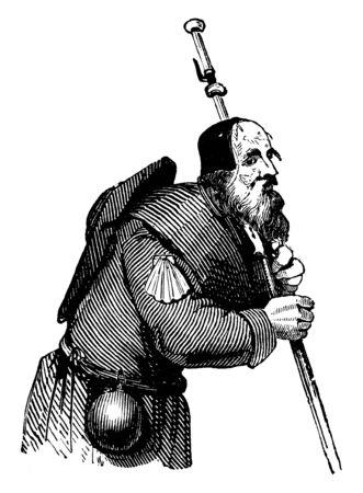 A pilgrim is a traveller, vintage line drawing or engraving illustration Illustration
