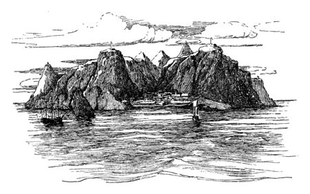 The Island of St Helena is currently part of the British overseas territory, vintage line drawing or engraving illustration.