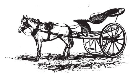 Caleche is a light low wheeled carriage with a removable folding hood, vintage line drawing or engraving illustration.