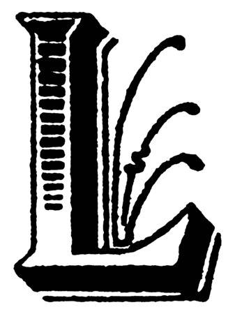 A decorative capital letter L with lines and shading, vintage line drawing or engraving illustration