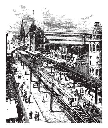 Grand Central Station showing elevated railroad in New York, vintage line drawing or engraving illustration.