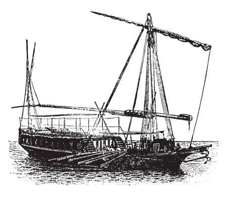 Dahabiyeh is an old boat powered by both sails and oars, vintage line drawing or engraving illustration. Illustration