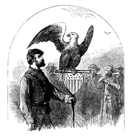 A man holding staff with eagle at top and other people watching him, vintage line drawing or engraving illustration