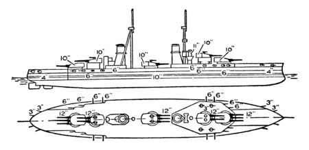 Caio Duilio Battleship Italian Navy which was used during World War I and II, vintage line drawing or engraving illustration.