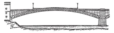 Coblenz Bridge is a German city situated on both banks of the Rhine where it is joined by the Moselle, vintage line drawing or engraving illustration. Archivio Fotografico - 132827152