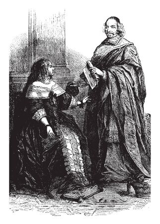 Anne of Austria and Cardinal Mazarin, vintage line drawing or engraving illustration.  イラスト・ベクター素材