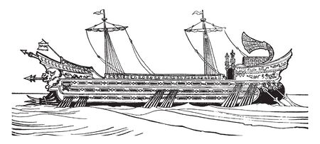 Roman Galley with three banks of oars, vintage line drawing or engraving illustration.