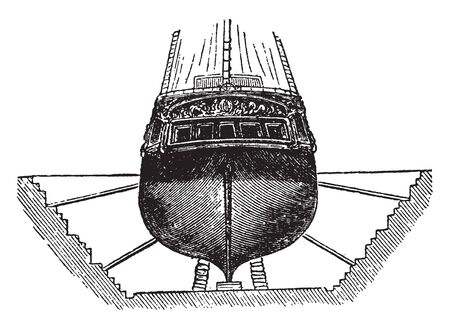 Dry Docks are two kinds the stationary dock and the floating dock, vintage line drawing or engraving illustration.