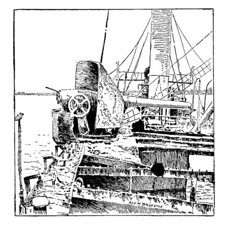Wreck of the Isla de Luzon protected cruiser of the Spanish Navy which fought in the Battle of Manila Bay, vintage line drawing or engraving illustration.