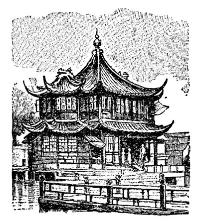 Gate house is a building enclosing or accompanying a gateway for a castle manor house fort town or similar buildings of importance, vintage line drawing or engraving illustration.