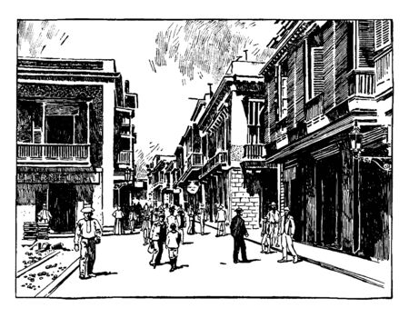 This illustration represents Street Scene in San Juan, vintage line drawing or engraving illustration.
