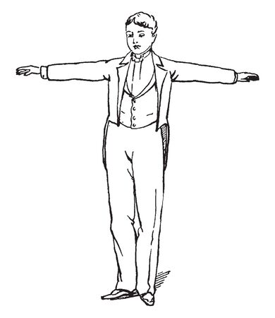A man with hands stretched outwards, a gesture of dispersion, vintage line drawing or engraving illustration
