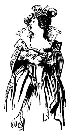 A queen looking to her right, vintage line drawing or engraving illustration
