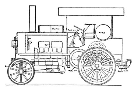 Thornycroft Military Oil Tractor ballast roller through the medium of a clutch, vintage line drawing or engraving illustration.