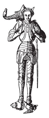 Brass Armour of Richard Beauchamp, vintage line drawing or engraving illustration Ilustrace