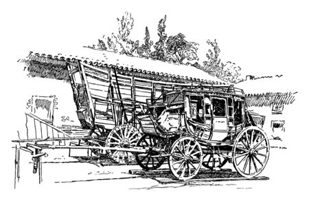 Stagecoach and Prairie Schooner which is a modes of travel in the West and an old stage coach and prairie schooner, vintage line drawing or engraving illustration. Illusztráció