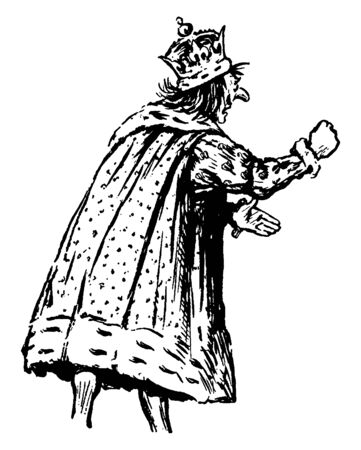 The king making a fist, vintage line drawing or engraving illustration Ilustração