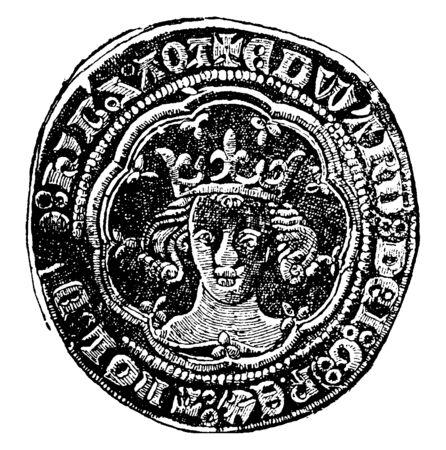 Obverse Side of Groat of Edward III which is first issued from circulation in the reign of Edward III, vintage line drawing or engraving illustration.