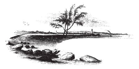 View of the landing-place of Arnold with his troops,vintage line drawing or engraving illustration