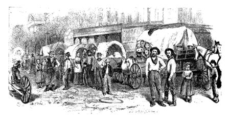 Wagon Train est un convoi ou un train de chariots tirés par des chevaux couverts utilisés par les pionniers ou les colons en Amérique du Nord, dessin de ligne vintage ou illustration de gravure. Vecteurs