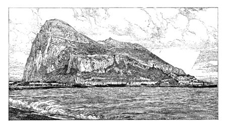 Gibraltar is connected with the Spanish mainland only by a flat strip of sandy ground, vintage line drawing or engraving illustration.