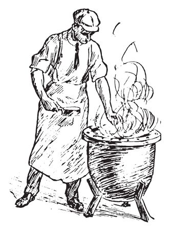 A man with boiling kettle, vintage line drawing or engraving illustration