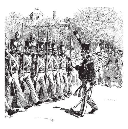 Butler guards standing in line, vintage line drawing or engraving illustration Çizim