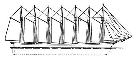 Avant et arrière sept voilier de goélette maîtrisé, dessin de ligne vintage ou illustration de gravure.