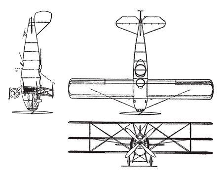 Curtis Model 18 I Triplane has a 400 horsepower K 12 engine, vintage line drawing or engraving illustration. 일러스트
