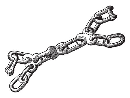 Chain is a serial assembly of connected pieces called links typically made of metal, vintage line drawing or engraving illustration. Ilustração