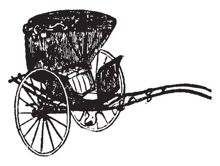 Chaise is a two wheeled vehicle with a calash top and a body slung on leather straps, vintage line drawing or engraving illustration.