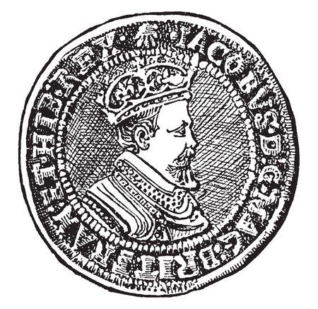 Double Crown which is a gold coin of the value of 10 or 11 shillings, vintage line drawing or engraving illustration. Illusztráció